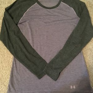Under Armour grey and purple heat gear top small